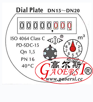 Water meter Dial ISO4064, GB/T778.1-1996